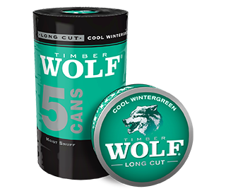 A roll of 5 cans of Timber Wolf Long Cut Cool Wintergreen moist snuff.