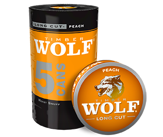 A roll of 5 cans of Timber Wolf Long Cut Peach moist snuff.