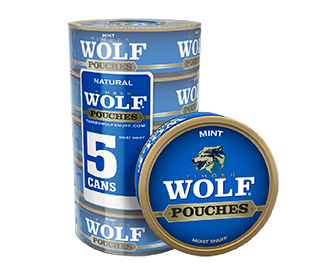 A roll of 5 cans of Timber Wolf Mint moist snuff pouches.