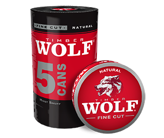 A roll of 5 cans of Timber Wolf Fine Cut Natural moist snuff.