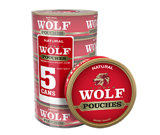 A roll of 5 cans of Timber Wolf Natural moist snuff pouches.