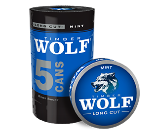 A roll of 5 cans of Timber Wolf Long Cut Mint moist snuff.