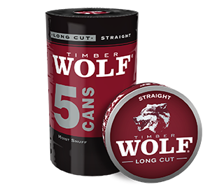 A roll of 5 cans of Timber Wolf Long Cut Straight moist snuff.