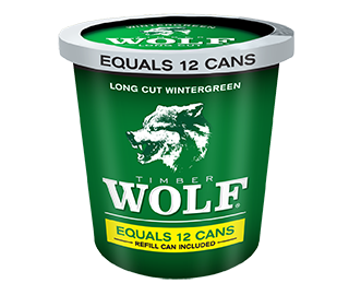 A tub of Timber Wolf Wintergreen moist snuff.