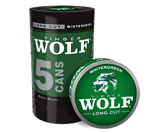A roll of 5 cans of Timber Wolf Long Cut Wintergreen moist snuff.