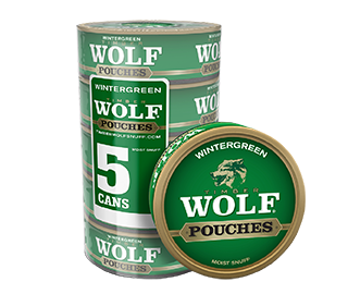 A roll of 5 cans of Timber Wolf Wintergreen moist snuff pouches.