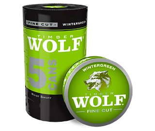 A roll of 5 cans of Timber Wolf Fine Cut Wintergreen moist snuff.